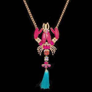 Betsey Johnson Mermaid Jeweled Lobster Necklace